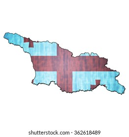 map with flag of georgia with national borders