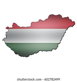 map with flag of hungary with national borders