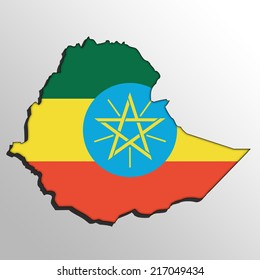 map with the flag inside - Ethiopia