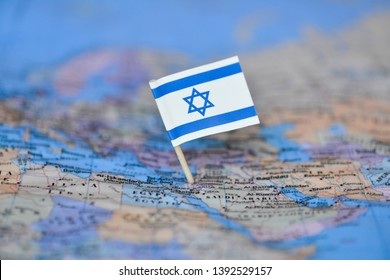 Map with flag of Israel