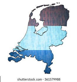 map with flag of netherlands with national borders