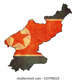 map with flag of north korea with national borders