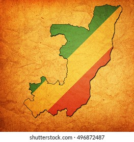 map with flag of republic of congo with national borders