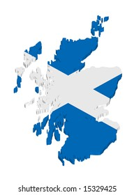 map and flag of scotland