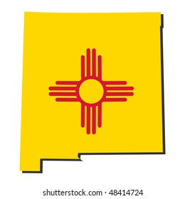 Map and flag of the State of New Mexico illustration JPEG