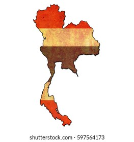 map with flag of thailand with national borders