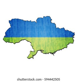 map with flag of ukraine with national borders without crimea