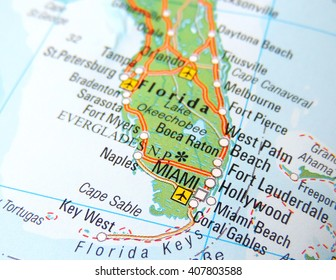 Map of Florida with focus on Miami