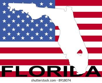 map of Florida on American flag illustration JPG