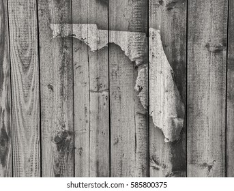 Map of Florida on weathered wood