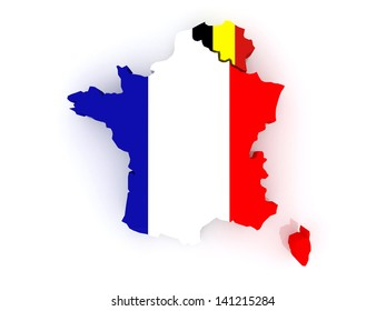 map of france and belgium 3d