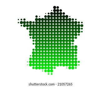 Map of France in dots with green gradient
