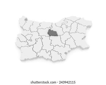 Map of Gabrovo region. Bulgaria. 3d