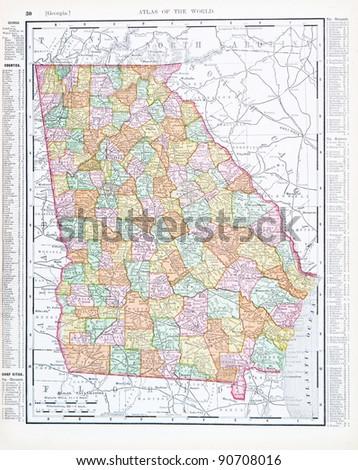 Map Of Georgia United States.Map Georgia Usa Spoffords Atlas World Stock Photo Edit Now