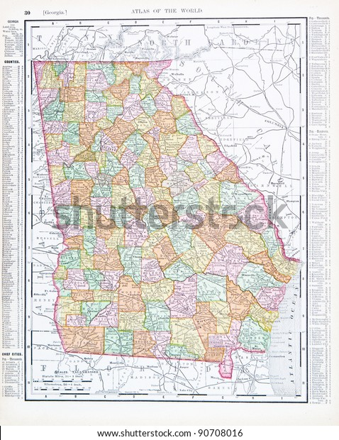 Map Of Georgia United States.Map Georgia Usa Spoffords Atlas World Stock Photo Edit Now 90708016
