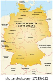 Map of Germany with borders