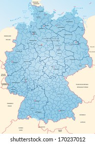 Map of Germany with borders in blue