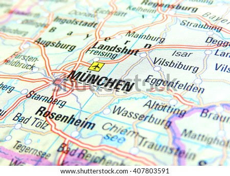 Map Of Germany Showing Munich.Map Germany Focus On Munich Stock Photo Edit Now 407803591