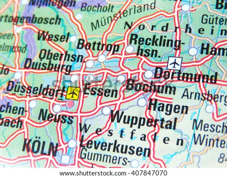 Map Germany Focus On Ruhr Area Stock Photo Edit Now 407847070