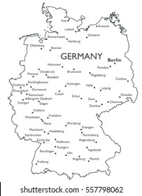Map of Germany   Monochrome contour map with city names