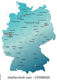 Map of Germany as an overview map in blue