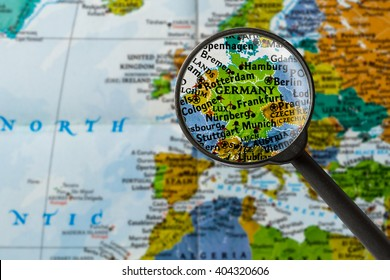 map of Germany through magnifying glass