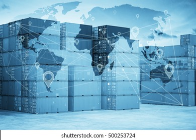 Map global logistics partnership connection and wireless communication network, abstract image visual, internet of things