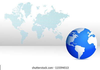 map and globe illustration design blue background