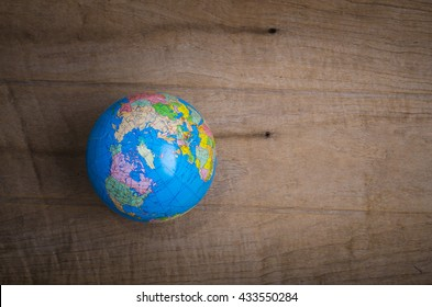 Map Globes on Wood