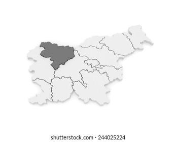 Map of Gorenjska region. Slovenia. 3d