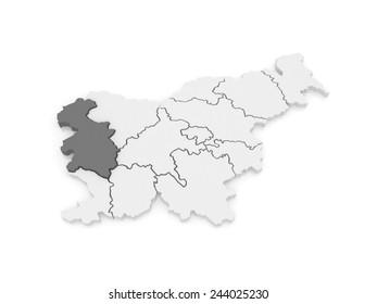 Map of Goritskii region. Slovenia. 3d