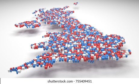 Map of Great Britain - Europe   3D mosaic of little bricks - Flag colors