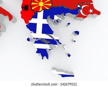 Map of Greece. 3d