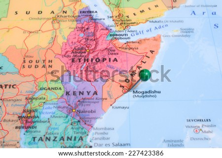 Map Green Map Pin Placed Mogadishu Stock Photo Edit Now 227423386