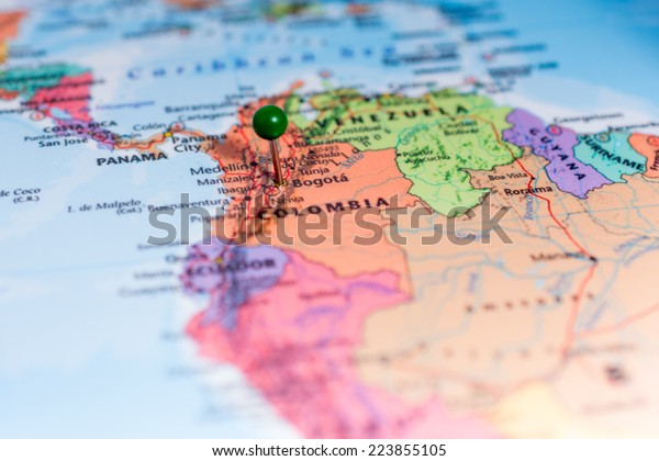 Map Green Pin Placed On Bogota Stock Photo (Edit Now) 223855105