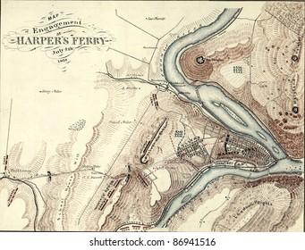 Map of Harper's Ferry, West Virginia in 1864,  from Report of  the 2nd Corps, Army of Northern Virginia, published 1864.