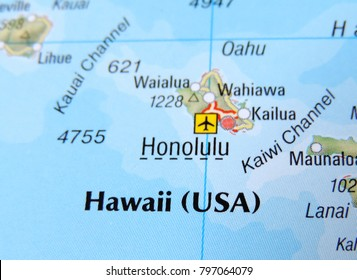 Map of Hawaii, with focus on Hololulu.