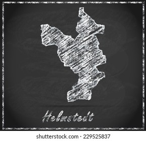 Map of Helmstedt as chalkboard  in Black and White