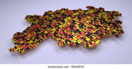 Map of Hesse - Germany - into a 3d mosaic of little boxes