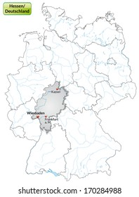 Map of Hesse with main cities in gray