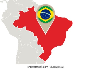 Map with highlighted Brazil map and flag, Rasterized Copy