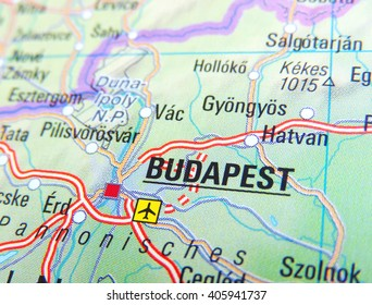 Map of Hungary with focus on Budapest