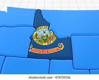 Map of Idaho state with flag. Image with clipping path.