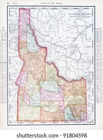 A map of Idaho, USA from Spofford's Atlas of the World, printed in the United States in 1900, created by Rand McNally & Co.