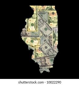 Map of Illinois with American dollars bills illustration