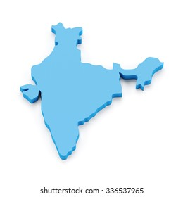 Map of India, 3d render, white background