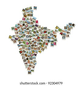 Map of India - collage made of travel photos, all photos are my own