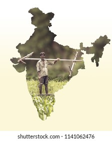 Map of India shows Indian farmer portrait holding plow on white gradient background, Indian agriculture, Kisan diwas concept