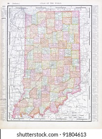 A map of Indiana, USA from Spofford's Atlas of the World, printed in the United States in 1900, created by Rand McNally & Co.