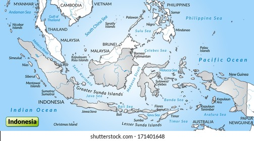 Map of Indonesia as an overview map in gray
